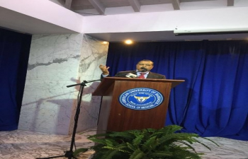 H.E. Gauri Shankar Gupta speaking at the American University of Barbados on 'Development and Environment' on March 13th, 2015