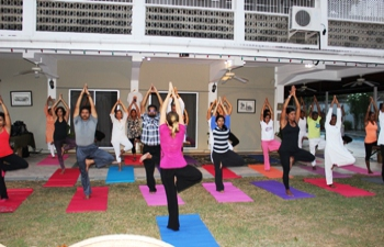 High Commission of India in preparation for  International Day of Yoga held a rehearsal at the Residence of the High Commissioner on 10 June, 2015