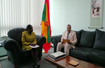H.E. Mr. Gauri Shankar Gupta's paid a courtesy call on the Hon. Clarice Modeste -Curwen,  Minister of Foreign Affairs,  Grenada on 15 - 18 July ,2015
