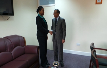 H.E. Mr. Gauri Shankar Gupta  paid a courtesy call on  Hon. Francine Baron, Minister of Foreign Affairs and CARICOM Affairs, Commonwealth of Dominica on 12-15 July,2015
