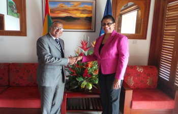 H.E. Gauri Shankar Gupta visited Grenada from 14th to 17th and Dominica from the 17th to 19th February, 2016