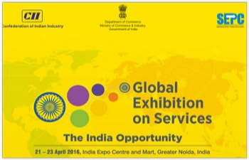 Global Exhibition on Services, to be held from 20-23 April 2016, in Noida, New Delhi.
