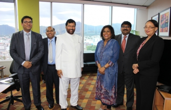 Shri Ram Vilas Paswan, Minister of Consumer Affairs, Food and Public Distribution had a Meeting with Hon'ble Paula Gopee-Scoon, Minister of Trade and Industry of Trinidad and Tobago at her office.