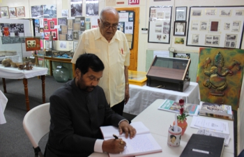 Minister of Consumer Affairs, Food and Public Distribution, Shri Ram Vilas Paswan, at the Indian Caribbean Museum, in Trinidad & Tobago, October 26, 2016