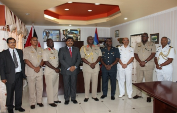 H.E. Bishwadip  Dey , High Commissioner of India met with Brigadier General Rodney Smart, Chief of Defence Staff, of the Trinidad and Tobago Defence Force 05-04-2017
