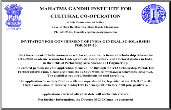 Invitation for Government of India General Scholarship for 2019-20