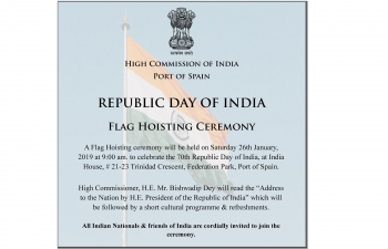Republic Day 2019 Flag Hoisting Invitation