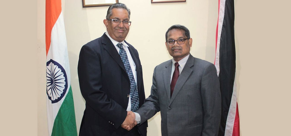 High Commissioner of India H.E Mr. A.K Sahu had an extensive meeting with Mr. Reyaz Ahamad, President, Trinidad & Tobago Chamber of Industry & Commerce on 18.11.2019 to explore possibilities for stronger Eco & Trade relations.
