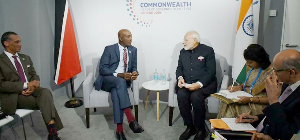 PM Modi with Trinidad and Tobago PM in London