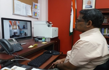 Newsday of Trinidad & Tobago shows High Commissioner H.E Mr Arun Kumar Sahu participating in the video conference held by PM Mr Narendra Modi with Heads of all Indian Missions to discuss COVID-19 situation on 30th March 2020