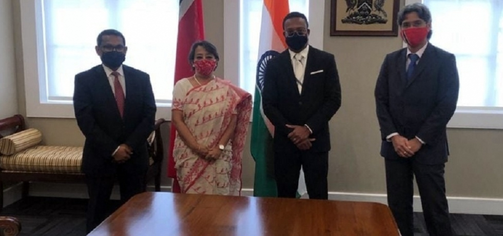 Amb Her Excellency Mrs Riva Ganguly Das, Secretary (East), Head of Indian delegation called on Senator the Hon Dr Amery Browne, Minister of Foreign & C.A.R.I.C.O.M. Affairs of Trinidad & Tobago in Port of Spain on 16th August 2021. Accompanied by High Commissioner of India to Trinidad & Tobago, Mr Arun Kumar Sahu & Permanent Secretary Mr Bruce Lai.