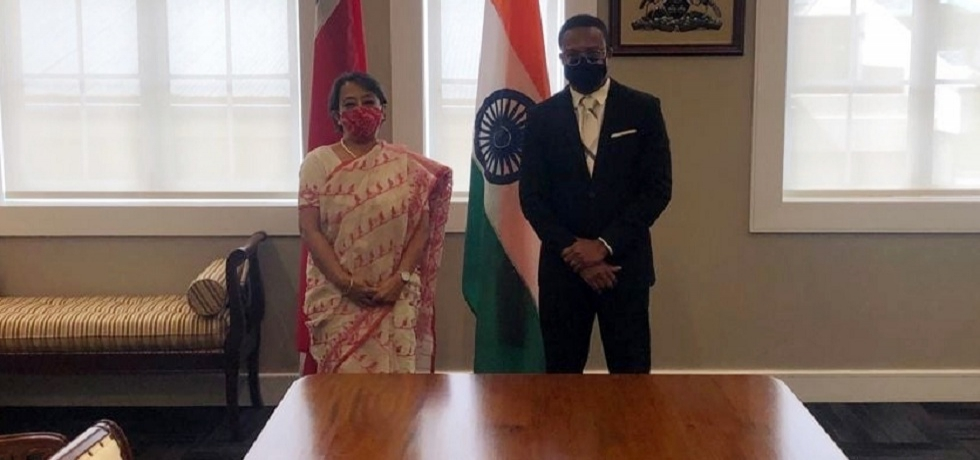 Amb Her Excellency Mrs Riva Ganguly Das, Secretary (East), Head of Indian delegation called on Senator the Hon Dr Amery Browne, Minister of Foreign & C.A.R.I.C.O.M. Affairs T&T in Port of Spain on 16th August 2021 during India's second Foreign Office Consultation.