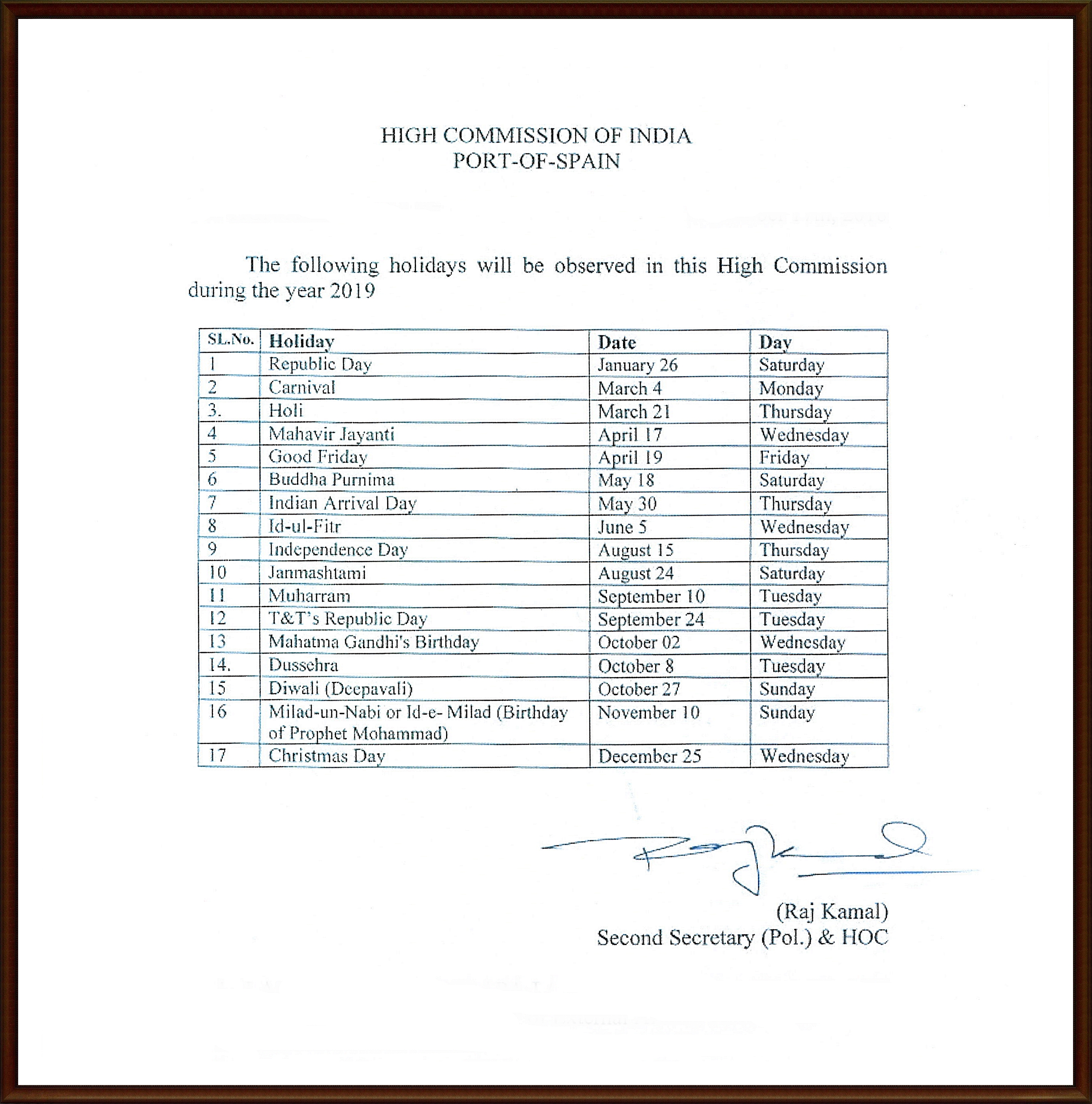 High Commission of India, Port of Spain, Trinidad and Tobago : List