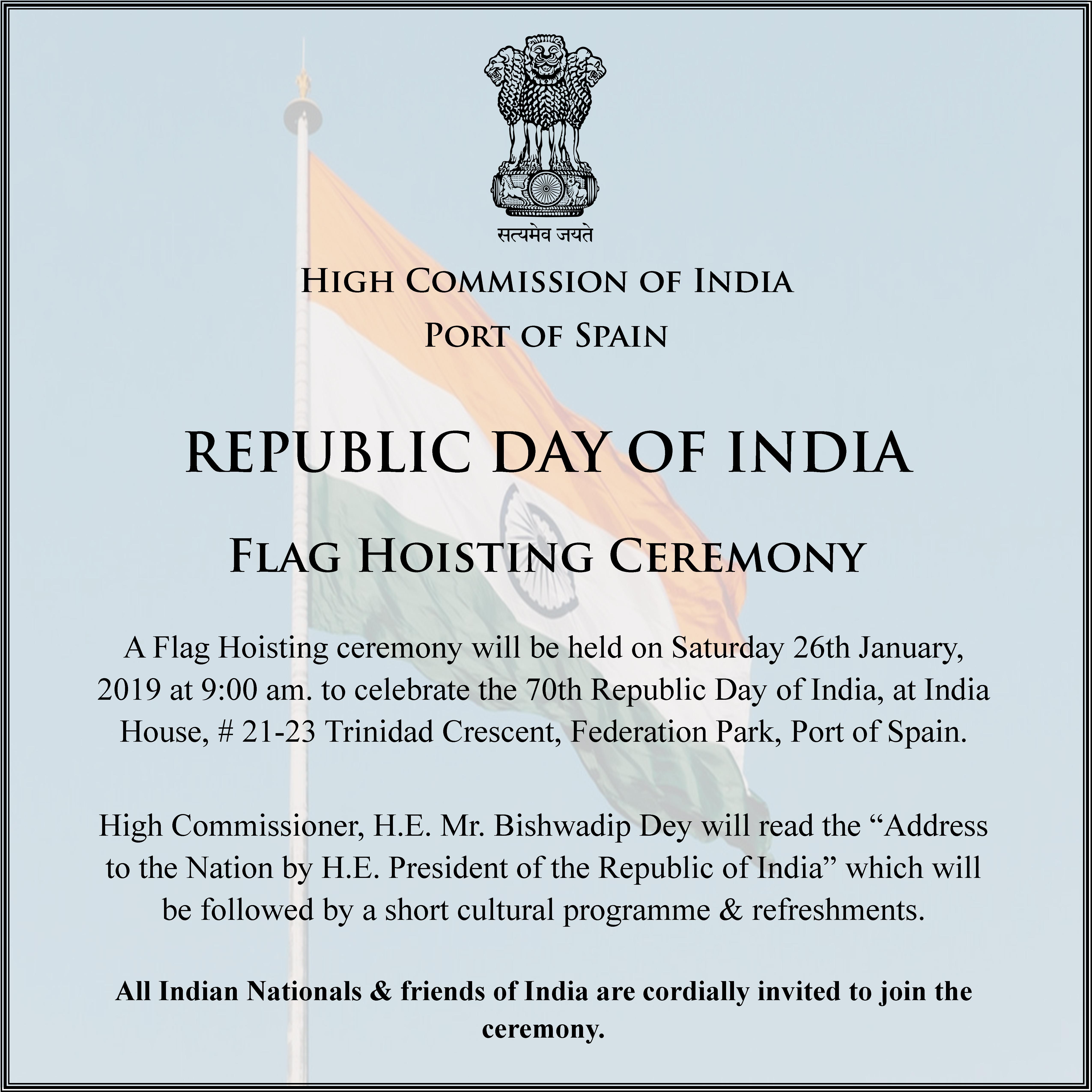 High Commission Of India Port Of Spain Trinidad And Tobago